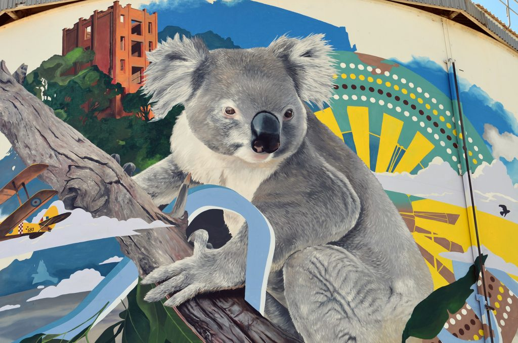 Image of Koala on Narrandera Water Tower Mural