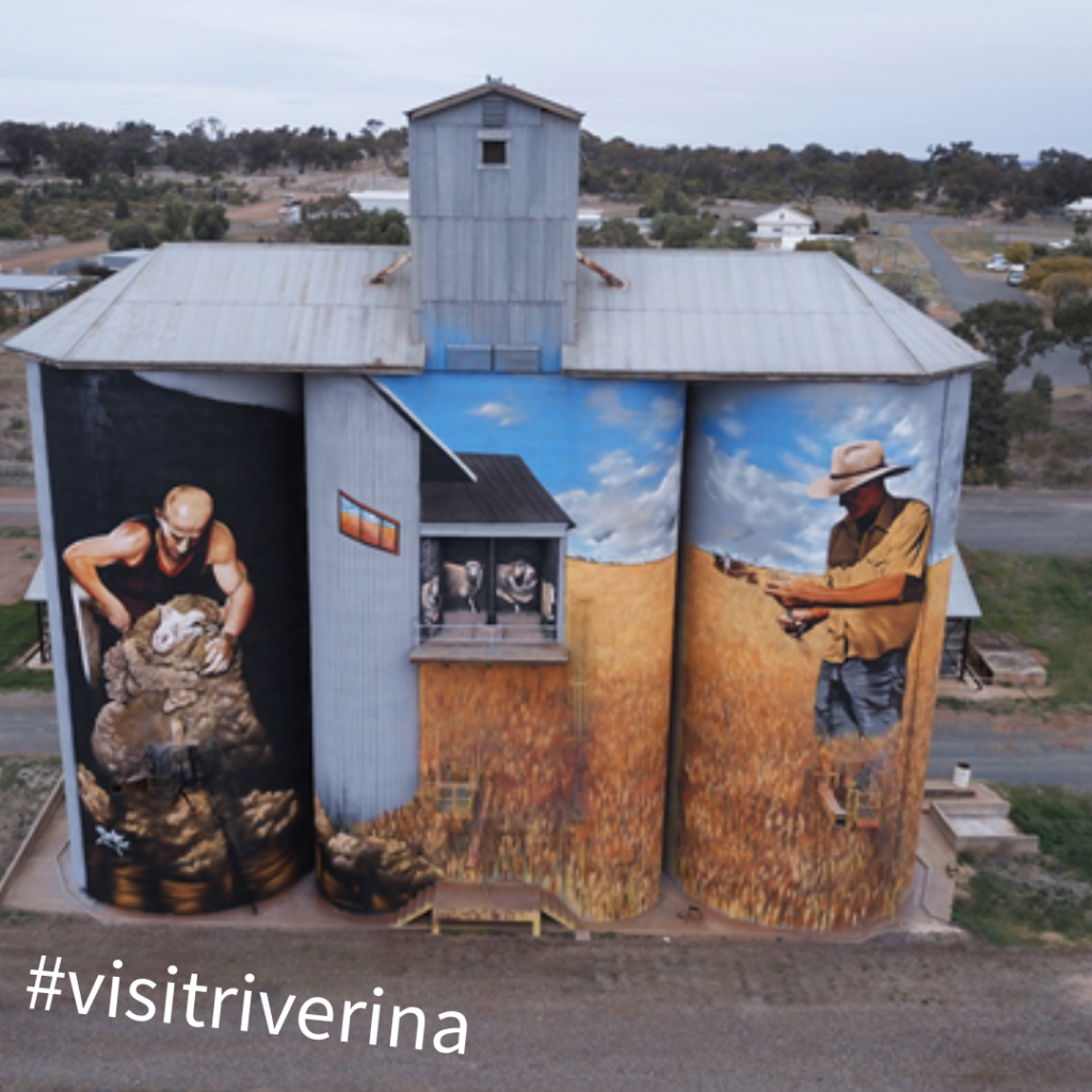 Silos on the Riverina Outdoor Art Trail, an example of images that can be used in the #VisitRiverina social media competition