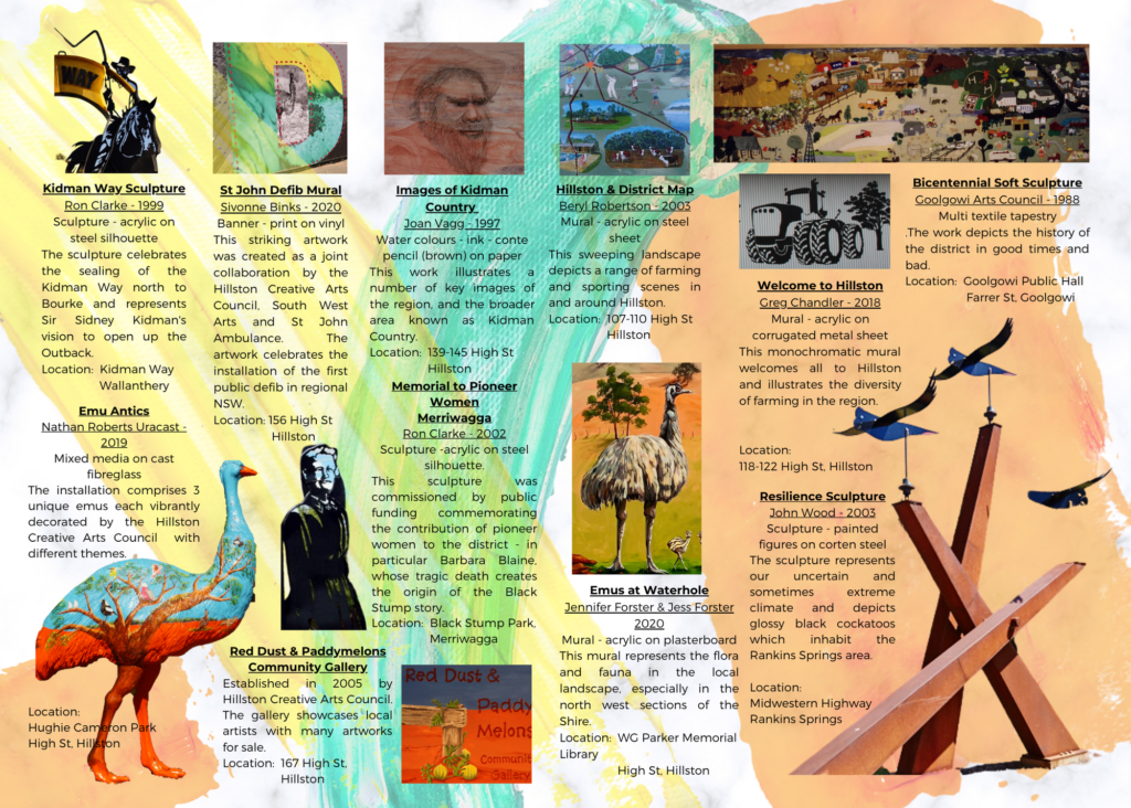 Image shows various Art features from Carrathool Shire from the Carrathool Shire Art brochure.