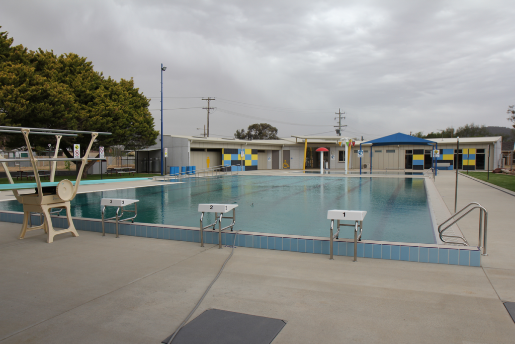Image shows a single swimming pool with no people.