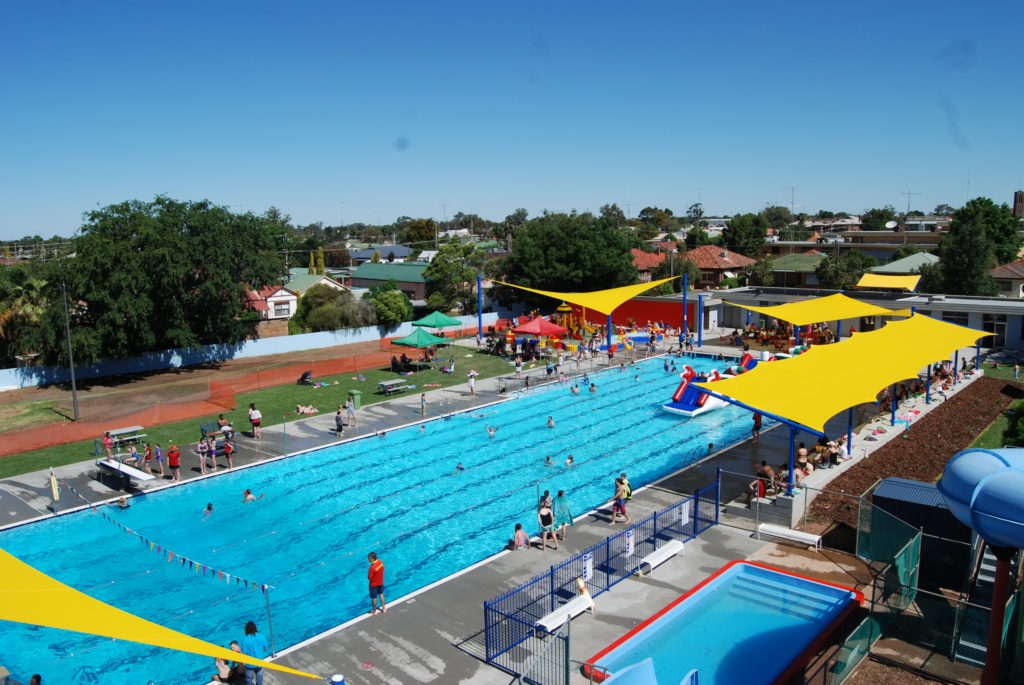 Aerial view of Holland Park Pool in West Wyalong, showing the swimming pool and surrounding facilities.