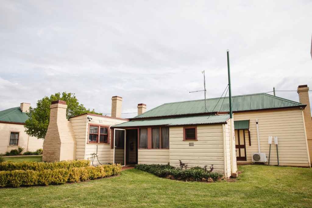 Image shows the exterior of Bradman's Birthplace Museum, Cootamundra